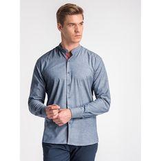 Ombre koszula męska gładka ze stójką