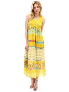 Sukienka maxi z rozkloszowanym dołem Smashed Lemon