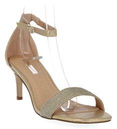 Złote sandały damskie na obcasie firmy Bellucci (kolory)