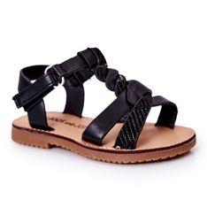 FR1 Dziecięce Sandały Z Brokatem Czarne Batilda
