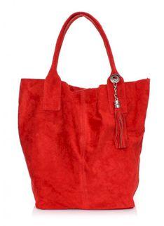 Torebka skórzana typu Shopperbag zamsz naturalny Czerwona (kolory)
