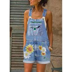 Kombinezon damski niebieski Sandbella w kwiaty