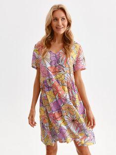 Mini sukienka w pastelowy nadruk roślinny