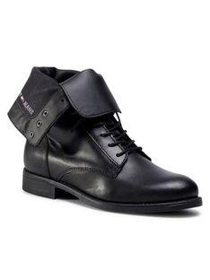 Tommy Jeans Botki Essential Dressed Lace Up Boot EN0EN01101 Czarny