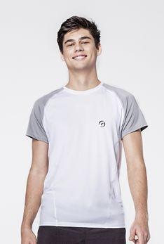 T-shirt biały / szary