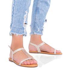 Beżowe sandały holograficzne damskie Igi beżowy