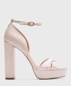 Beżowe sandały na platformie damskie