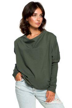 Zielona Oversizowa Bluza z Dekoltem Typu Woda