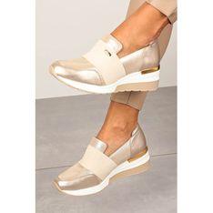 Buty sportowe damskie Kati sneakersy złote na koturnie bez zapięcia casual ze skóry