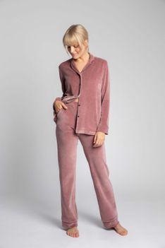Welurowe Spodnie od Piżamy z Kontrastowymi Lamówkami - Różowe