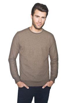 Sweter brązowy typu round-neck Recman JARAMA