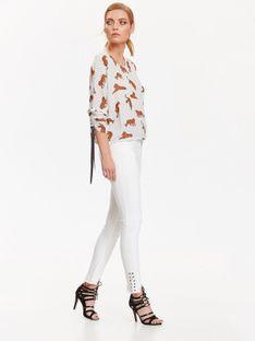 Bluzka damska w kropki oraz tygrysy, z ozdobnym wiązaniem przy rękawach
