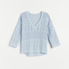 Reserved - Ażurowa bluzka z bawełny organicznej - Niebieski