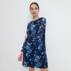 Mohito - Dzianinowa sukienka w kwiaty - Niebieski