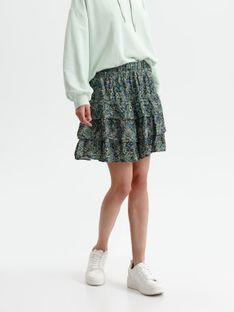 Mini spódnica w kwiatki, z falbaną