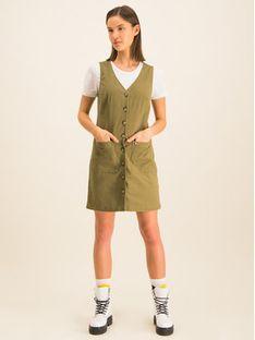 Tommy Jeans Sukienka jeansowa Dungaree DW0DW07750 Zielony Regular Fit