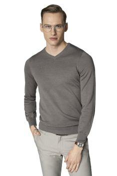 Szary sweter męski w serek Recman VITTEL