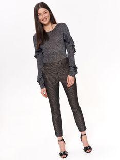 Eleganckie spodnie damskie w błyszczącą pepitkę