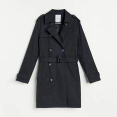 Reserved - Płaszcz z paskiem - Granatowy