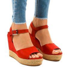 Czerwone espadryle sandały na koturnie 9R195
