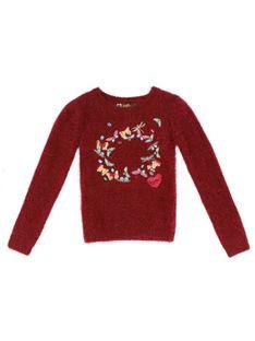 Bordowy sweter z hafowanymi motylkami Desigual ANAXIMENES
