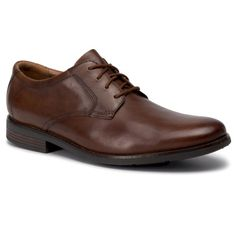 Półbuty CLARKS - Becken Lace 261452967 Dark Tan Leather