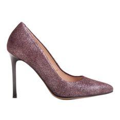 Marco Shoes Bordowe szpilki ze skóry naturalnej na wysokim obcasie czerwone