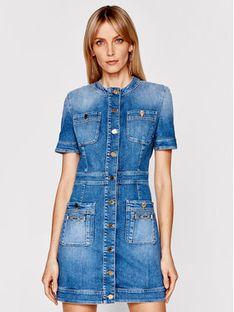 Elisabetta Franchi Sukienka jeansowa AJ-20I-11E2-V650 Granatowy Slim Fit