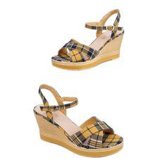 Sandałki na koturnie w kratkę żółte A89937 Yellow