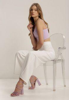 Białe Spodnie Szerokie Crephithe