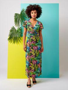 Długa suknia w kolorowe liście Smashed Lemon 20194