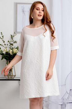 Sukienka trapezowa karczek z siateczki WALENTINA biała PROMOCJA