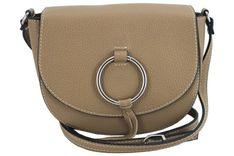 Barberini's - torebki damskie skórzane - listonoszki - Beżowa ciemna