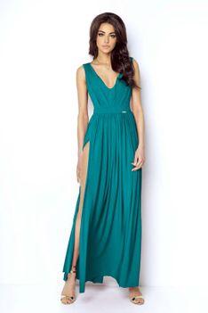 Morska Elegancka Maxi Sukienka z Dekoltem V z Przodu i na Plecach