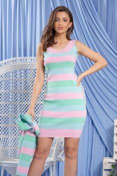 Komplet Bawełniany Sukienka i Kardigan w Paski - Różowy
