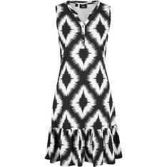 Sukienka Bonprix bez rękawów w abstrakcyjnym wzorze z dekoltem w literę v