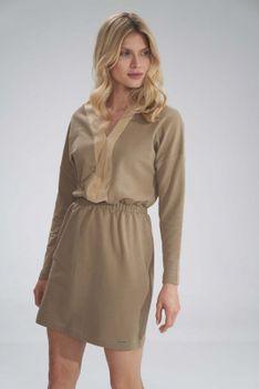 Mini Sukienka z Dekoltem Wykończonym Welurem - Beżowa