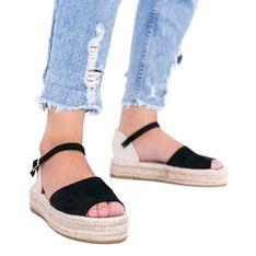 Czarne sandały na platformie Pearl River