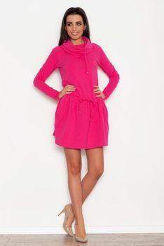 Różowa Sportowa Sukienka z Lejącym Golfem z Troczkami