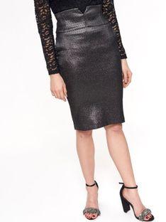 Elegancka spódnica ołówkowa, z połyskiem oraz drobnym wzorem, z wysokim stanem