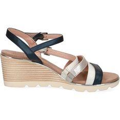Sandały damskie Caprice eleganckie gładkie na średnim obcasie z klamrą
