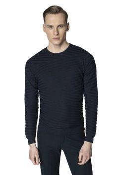 Sweter typu round-neck z strukturą Recman CROS PM