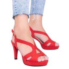 Czerwone sandały na szpilce Sudden Draft