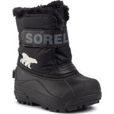 Buty zimowe dziecięce Sorel czarne na rzepy z napisami