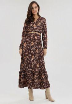 Brązowa Sukienka Uanlan