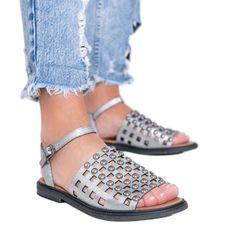 Szare metaliczne sandały z ćwiekami Luxy
