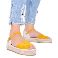 Musztardowe sandały na platformie Pearl River żółte