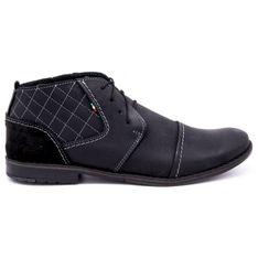 Olivier Pikowane buty męskie 254 czarne