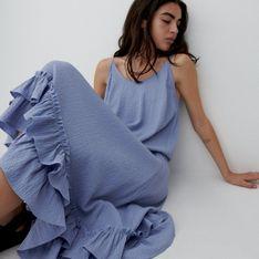 Reserved - Sukienka ze strukturalnej tkaniny - Niebieski