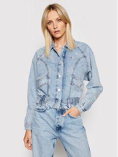 Tommy Jeans Kurtka jeansowa Cargo Crop Tjllbc DW0DW10072 Niebieski Regular Fit